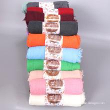 High quality muslim women scarf shawl oversized cotton crinkle hijab scarves