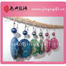 Bijoux culturels chinois fabriqués à la main de belles boucles d'oreilles de pierres précieuses naturelles