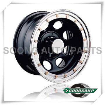 """Soft 8-Beadlock Wheels GS-105-2 Steel Wheel from 15"""" to 17"""" with different PCD, Offset and Vent hole"""