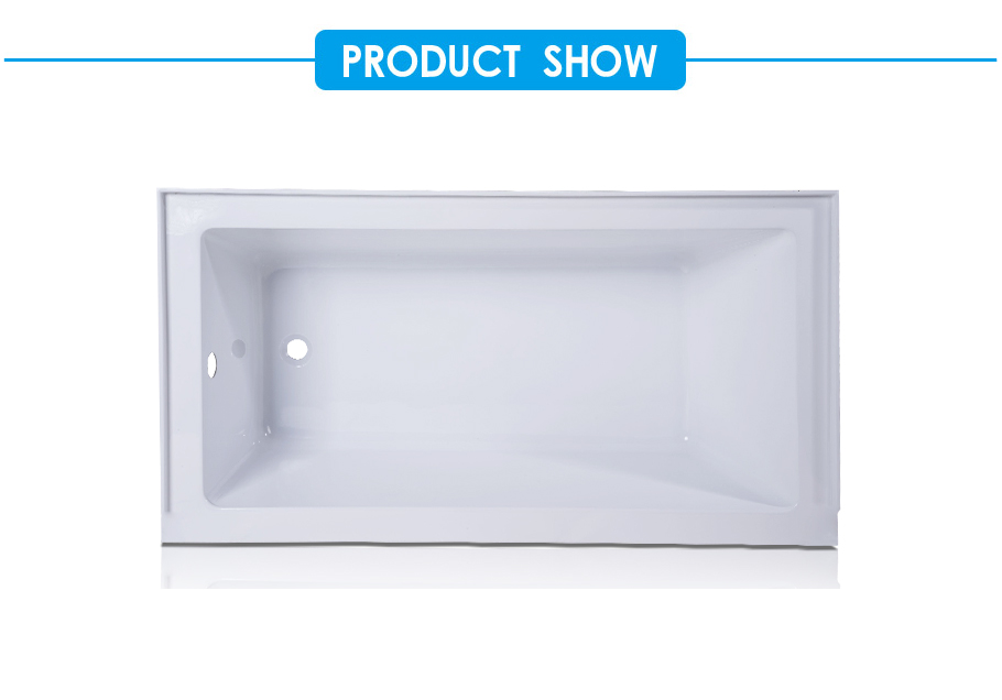 Sapphire Acrylic Rectangular Drop-in Bathtub in White