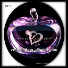 K9 3d Laser Crystal Apple with Purple Color