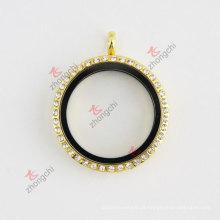 Ouro strass rodada 30 milímetros de vidro vivo encantos flutuante colar colar moda jóia set