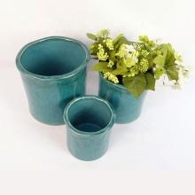 Vaso de flores ao ar livre listrado azul royal