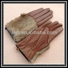 Dame Kaninchen Pelz Rücken Leder Handschuh Handschuh
