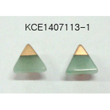 Green Triangular Earrings with Stone and Metal