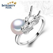 Реальное пресноводное жемчужное кольцо 9мм. Кольцо с жемчужным кольцом.