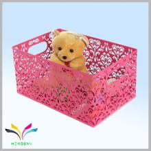 cesta de almacenamiento de juguete de alambre de metal rojo