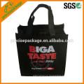 Bolsa de supermercado laminada negra no tejida con cremallera