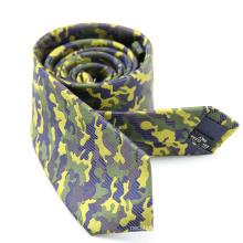 Custom Green Camo Military Silk Mens Yellow Tie