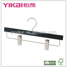 Matted black wooden hanger with metal clips