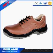 Zapatos de trabajo de seguridad con suela de PU en piel de acero rosa para mujeres