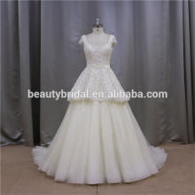 Champagne Color Overskirt Cap Sleeves Open Back Crystal Design Beauty Bridal Wedding Dress For Bride