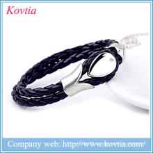 Bracelete de couro, bracelete feito à mão de couro, bracelete de couro dos homens