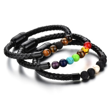 Fashion Beads Kulit Magnetic Genggam Bracelet Mens Bracelet
