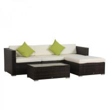 Conjunto de sofá de vime de vime ao ar livre com mesa de café
