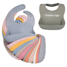 Reusable Waterproof Printed Silicone Bib Collapsible Silicone Baby Bib