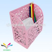 Pink Die Cut Metal contador mesa Memo cubo con titular de la pluma para carpetas
