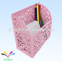 Pink Die Cut Metal Counter Table Memo Cube With Pen Holder for Binders