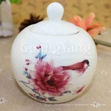 Ensemble de thé rayé de poterie de conception délicate d'art de conception