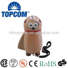Plástico animal adorável durável 1 conduziu mini lanterna manivela