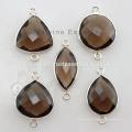Natural Smoky Quartz Bezel Fornecedor de jóias de pedras preciosas, 925 Silver Bezel Configuração de conectores Fornecedores