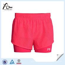Alta qualidade menina Running Wear Running Shorts com camada de base