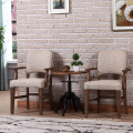 Wooden Frame Line Upholstered Dining Armchair