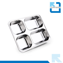 Plateau et boîte à lunch rapide à grande capacité 304 en acier inoxydable avec 4 diviseurs