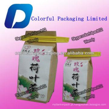 Sacos de embalagem de papel Kraft 150g para o chá de café com laço de estanho / Personalizado sacos de chá de alimentos de café kraft