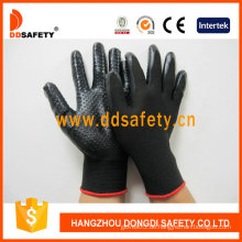 Schwarzes Nylon mit schwarzem Nitril-Handschuh-Dnn429