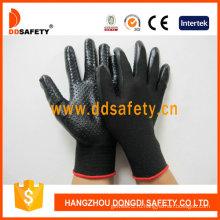 Черный Нитрила с мини Dotsglove перчатки-Dnn429 безопасности