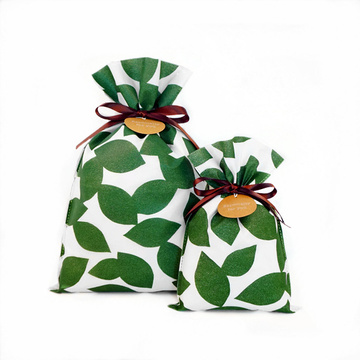 Bolsa de papel de regalo diaria no tejida de Green Leaves Korea