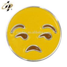 Gros émoticône émail métal personnalisé tristement insigne épingles