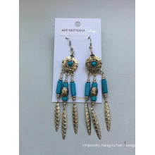 Retro Blue Silver Earrings with Metal