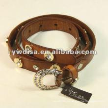 Cremallera cinturón de cuero real con hebilla de rhinestones