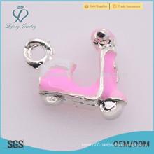 2015 fashion charm jewelry, pink motorcycle custom charm