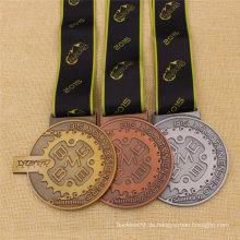 Bespoke Metall Antik Finish Gold Silber Bronze Medaille