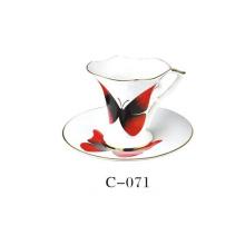 Conjunto de chávena de café de porcelana borboleta