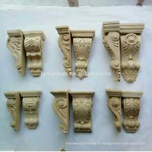 Corbeaux de sculptures sur bois, appliques pour meubles et armoires