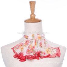 Cachecol de seda de chiffon de seda quadrado de poliéster de impressão floral moda
