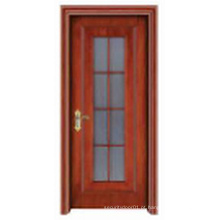Porta de madeira sólida com janela Galss elegante