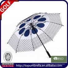 28 pouces 8 côtes Parapluie de golf avec doubles auvents et prises d'air.
