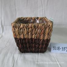 Hand Made Rectangular Water Hyacinth Flower Pot