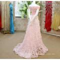 Robes De Soiree 2016 Longue Elegant Boat Neck Luxury Beading Crystal Evening Dress Cap Sleeve Flower Applique Formal Gown ML153