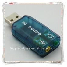 Хорошее качество USB 2.0 ВНЕШНИЙ ЗВУКОВОЙ КАРТЫ 3D 5.1 АДАПТЕР АУДИО для ПК