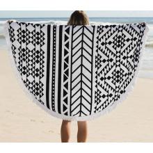Toalla de playa redonda de algodón de venta caliente 2016 con borlas