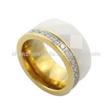2014 moda y productos de alta calidad IP Oro acero inoxidable CNC CZ piedra anillos para las mujeres y la joyería de hombre