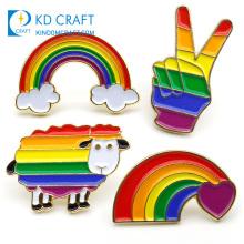 Wholesale no minimum cheap custom metal stamping rainbow colorful enamel gay pride lgbt pins