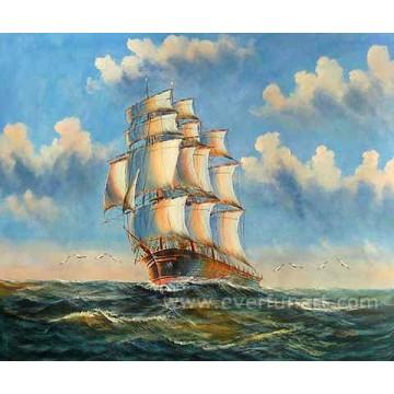 Großhandel Ölgemälde Segelboote auf Leinwand für Wohnkultur (EWL-051)