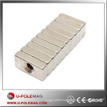 Wholesale Neodymium Magnet Cube /N45 Neodymium Magnet Block /F100X20X20 Hole:10mm Cube Custom Magnet